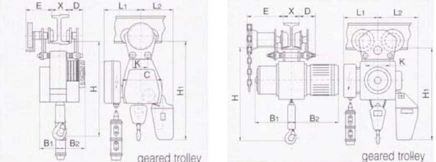 Цепные электрические тали, передвижные на ручной приводной тележке B и BY