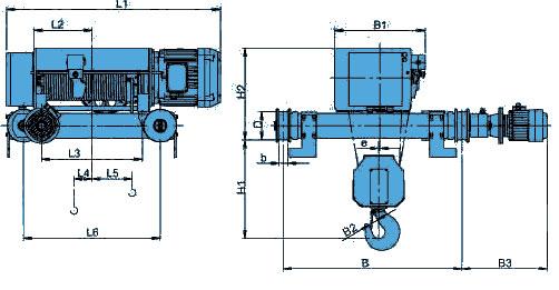 Канатный электротельфер KVAT Передвигаемый двухрельсовой тележкой