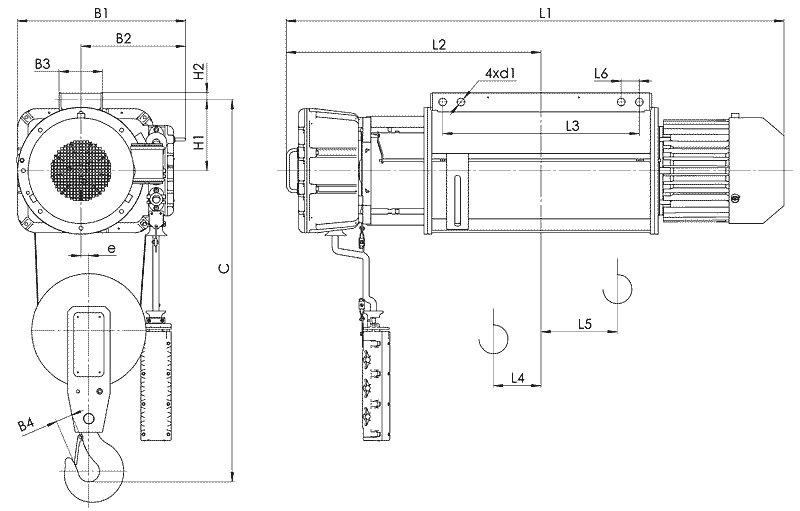 Канатный электротельфер BТ02 Стационарный (подвесной) на лапах