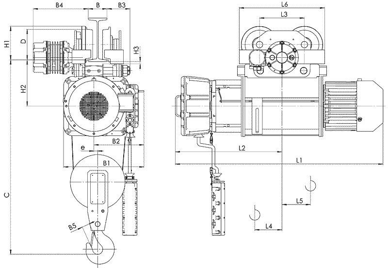 Канатный электротельфер BТ10 Передвигаемый одной тележкой