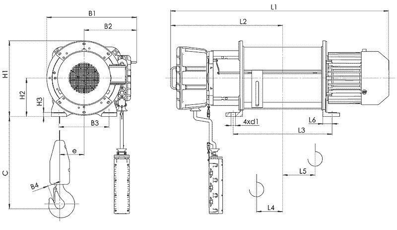 Канатный электротельфер BТ17 Стационарный (подвесной) на лапах