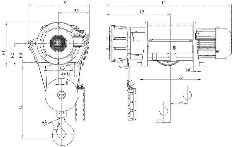 Канатный электротельфер BТ35 Стационарный (подвесной) на лапах