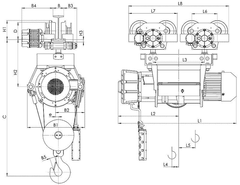 Канатный электротельфер BТ39 Передвигаемый двумя тележками