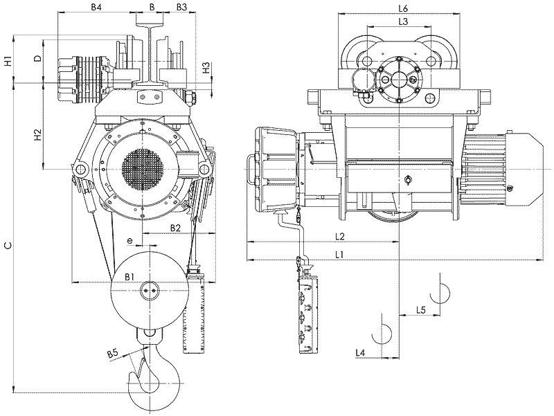 Канатный электротельфер ВТ39 Передвигаемый одной тележкой