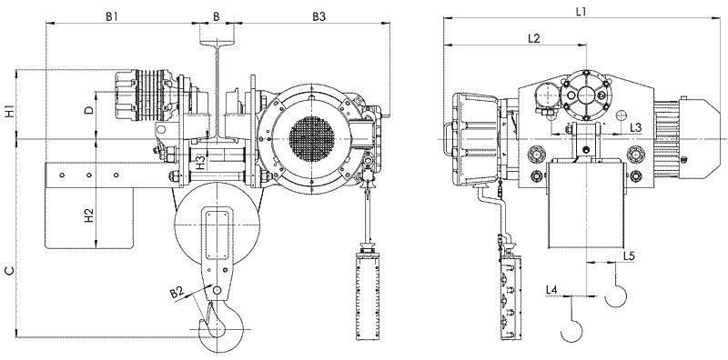 Канатный электротельфер BТ45 Передвигаемый двумя тележками