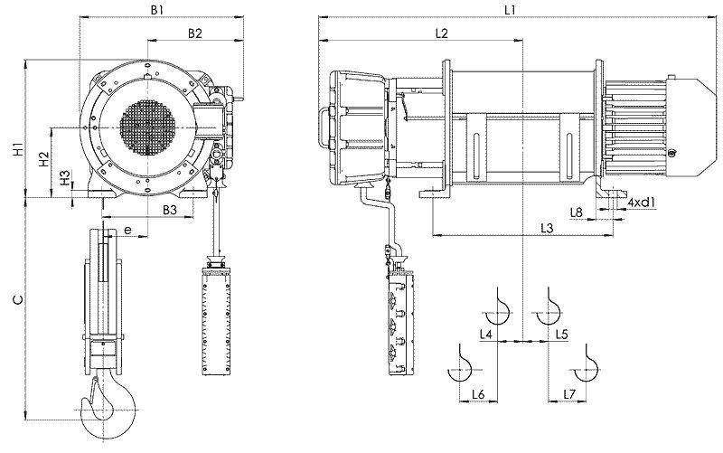 Канатный электротельфер BТ51 Стационарный (подвесной) на лапах