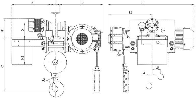 Канатный электротельфер BТ78 Уменьшенная строительная высота