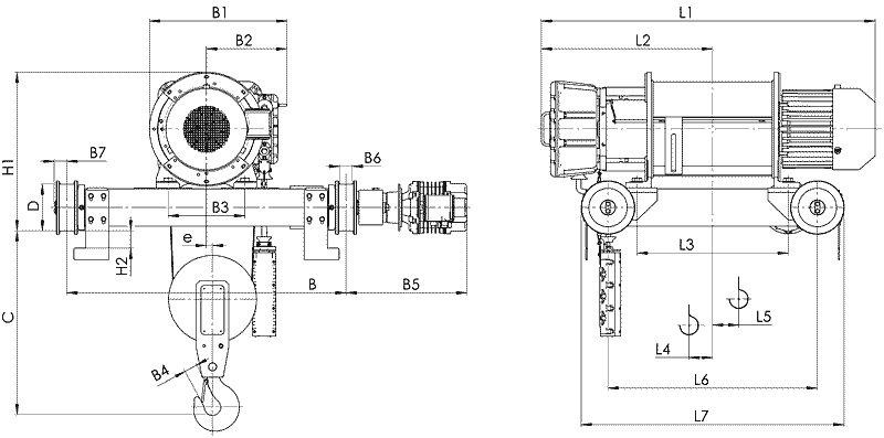 Канатный электротельфер BТ81 Передвигаемый двухрельсовой тележкой