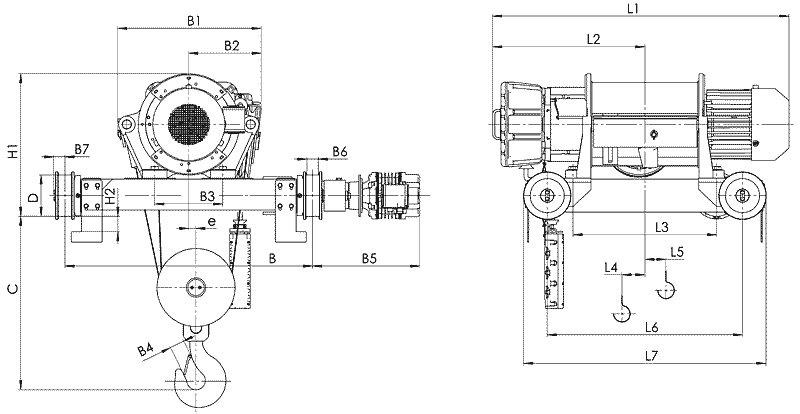 Канатный электротельфер BТ82 Передвигаемый двухрельсовой тележкой